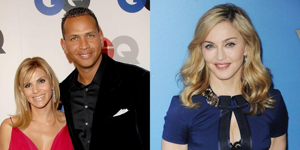 "<p>While married to Cynthia Scurtis, the Yankees player had an affair with Madonna. A source close to Scurtis told <em><a href=""http://people.com/celebrity/alex-rodriguez-s-wife-left-him-over-alleged-affair-with-madonna/"" rel=""nofollow noopener"" target=""_blank"" data-ylk=""slk:People"" class=""link rapid-noclick-resp"">People</a> </em>in 2008, ""The embarrassment over Madonna was the last straw [for Scurtis]. She flew to Paris to get out of town before everything blew up between them."" A-Rod wound up paying Scurtis a <a href=""https://www.marieclaire.com/culture/g19123551/most-expensive-celebrity-divorce-settlements/?slide=11"" rel=""nofollow noopener"" target=""_blank"" data-ylk=""slk:divorce settlement of $26 million"" class=""link rapid-noclick-resp"">divorce settlement of $26 million</a>.</p>"