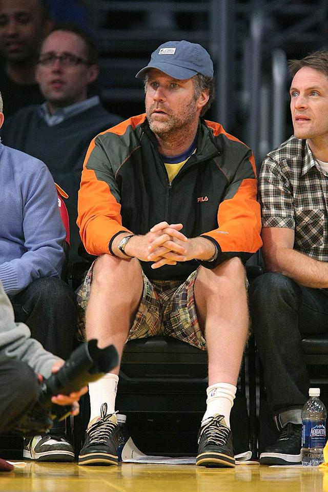"Funnyman Will Ferrell looks rather serious as he watches the Lakers take on the Clippers at Staples Center in downtown Los Angeles last night. Noel Vasquez/<a href=""http://www.gettyimages.com/"" target=""new"">GettyImages.com</a> - November 5, 2008"