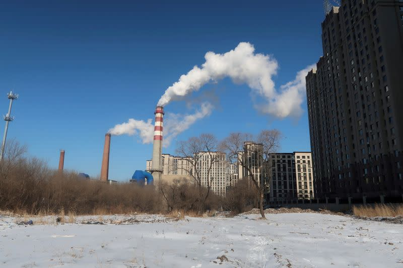FILE PHOTO: A coal-fired heating complex is seen behind the ground covered by snow in Harbin