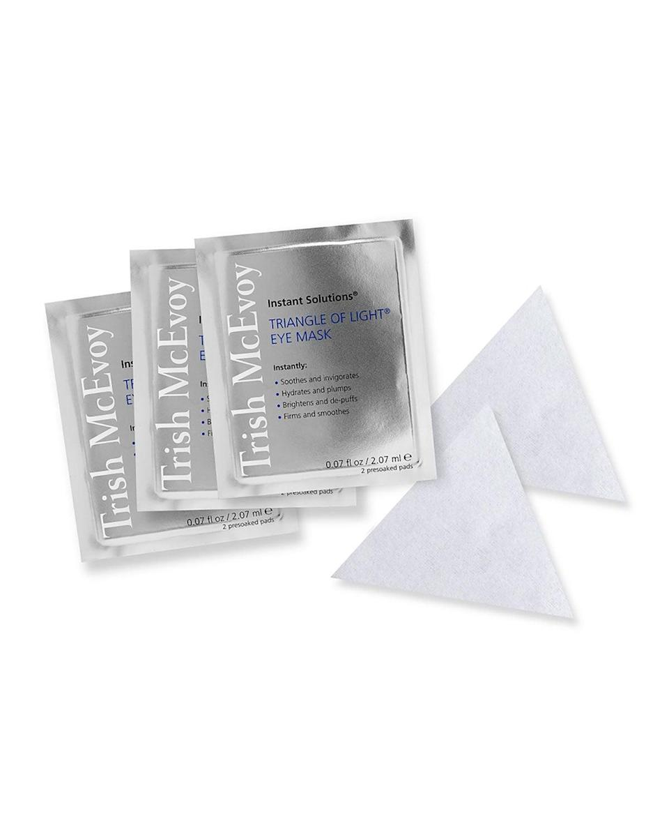 """<h2>Trish McEvoy Instant Solutions Triangle of Light Eye Mask</h2><br>Great for the time-conscious, these concentrated eye masks will deliver a brighter and firmer appearance around the eye area in as little as five minutes. They're hydrating, soothing, and perfect for a (very) quick fix.<br><br><strong>Trish McEvoy</strong> Instant Solutions Triangle of Light Eye Mask, $, available at <a href=""""https://go.skimresources.com/?id=30283X879131&url=https%3A%2F%2Fwww.neimanmarcus.com%2Fp%2Ftrish-mcevoy-instant-solutions-triangle-of-light-eye-mask-prod179520308"""" rel=""""nofollow noopener"""" target=""""_blank"""" data-ylk=""""slk:Neiman Marcus"""" class=""""link rapid-noclick-resp"""">Neiman Marcus</a>"""