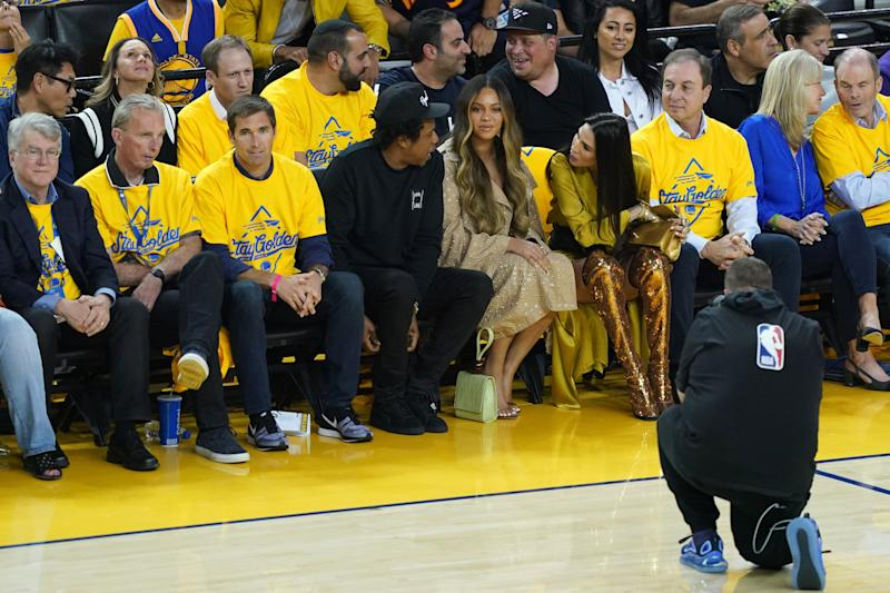 OAKLAND, CALIFORNIA - JUNE 05: Jay-Z and Beyonce attend Game Three of the 2019 NBA Finals between the Golden State Warriors and the Toronto Raptors at ORACLE Arena on June 05, 2019 in Oakland, California. NOTE TO USER: User expressly acknowledges and agrees that, by downloading and or using this photograph, User is consenting to the terms and conditions of the Getty Images License Agreement. (Photo by Thearon W. Henderson/Getty Images)