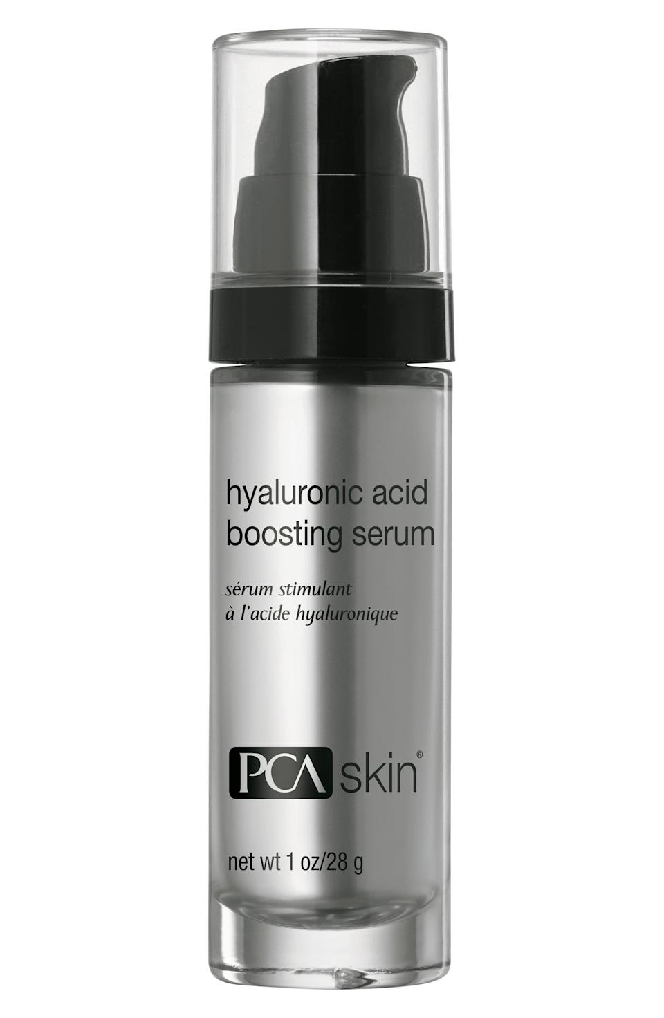 """<p><strong>PCA SKIN</strong></p><p>nordstrom.com</p><p><strong>$117.00</strong></p><p><a href=""""https://go.redirectingat.com?id=74968X1596630&url=https%3A%2F%2Fshop.nordstrom.com%2Fs%2Fpca-skin-hyaluronic-acid-boosting-serum%2F4802780&sref=https%3A%2F%2Fwww.oprahdaily.com%2Fbeauty%2Fskin-makeup%2Fg27529759%2Fbest-hyaluronic-acid-serum%2F"""" rel=""""nofollow noopener"""" target=""""_blank"""" data-ylk=""""slk:SHOP NOW"""" class=""""link rapid-noclick-resp"""">SHOP NOW</a></p><p>While a splurge, """"this line is known for its mild, non irritating formulations and this lightweight product complements sensitive skin types well,"""" says <a href=""""http://montgomery-dermatology.com/"""" rel=""""nofollow noopener"""" target=""""_blank"""" data-ylk=""""slk:Ilyas"""" class=""""link rapid-noclick-resp"""">Ilyas</a>. It's long lasting for great results.</p>"""