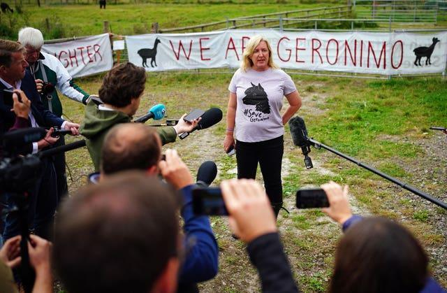 Helen Macdonald speaks to the media after Geronimo had been taken from her farm and killed (Ben Birchall/PA)