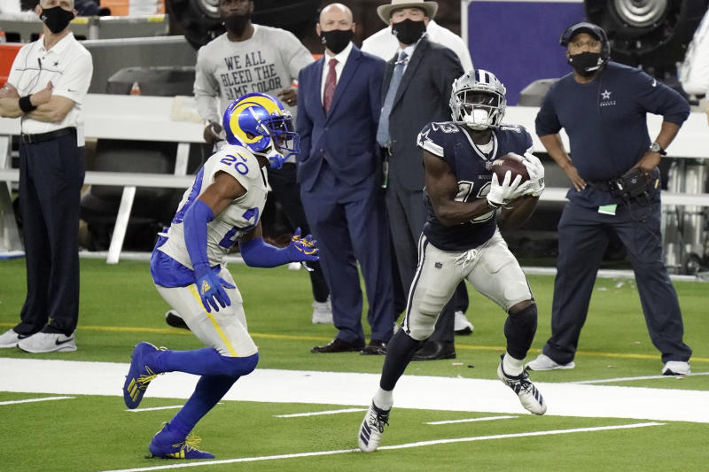 Dallas Cowboys wide receiver Michael Gallup (13) makes a catch but it was called for offensive pass interference. (AP Photo/Jae C. Hong)