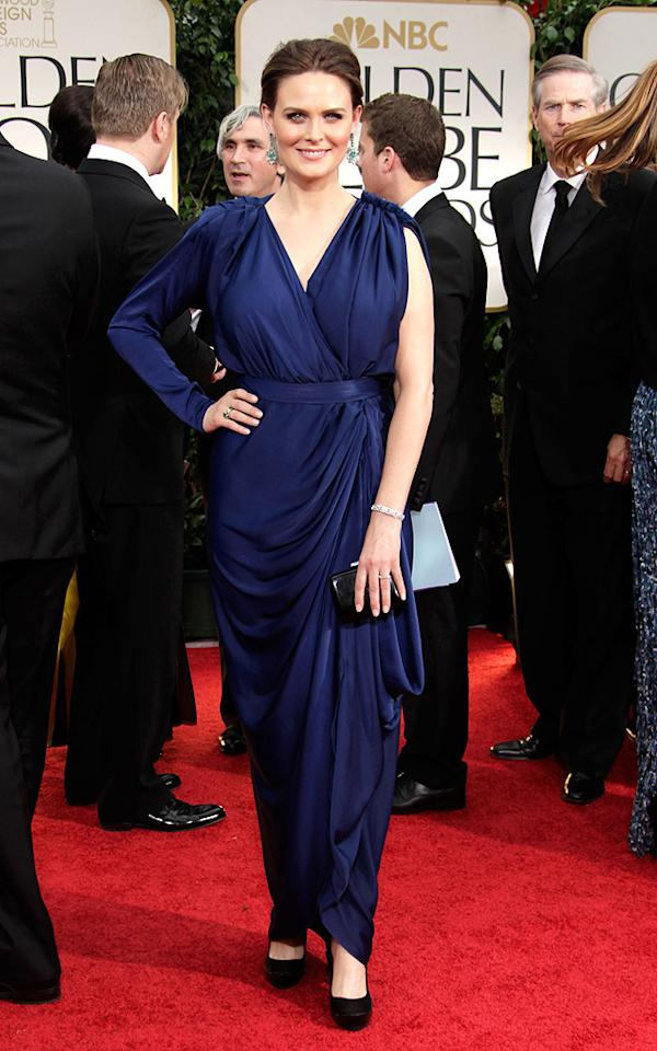 Emily Deschanel arrives at the 69th Annual Golden Globe Awards in Beverly Hills, California, on January 15
