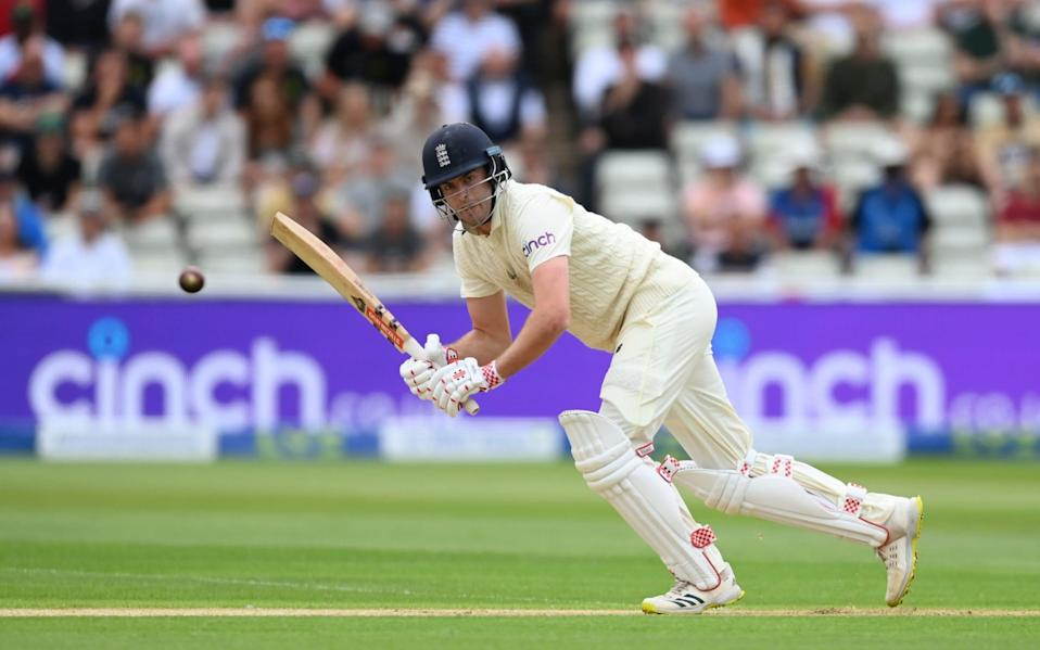 ngland batsman Dom Sibley in batting action during day one of the second Test Match between England and New Zealand - Gareth Copley/ECB via Getty Images
