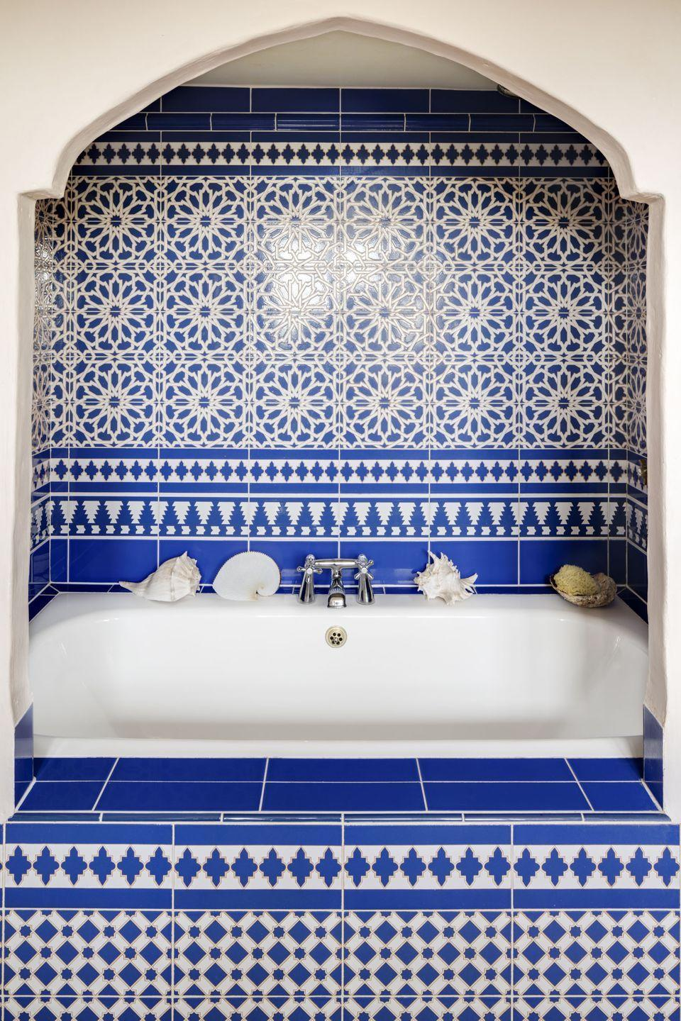 """<p>""""We created this cosy nook in our bathroom using some tiles we had bought in Seville. I love Moroccan hammams and this was as I close as I could get in Norfolk!""""</p>"""