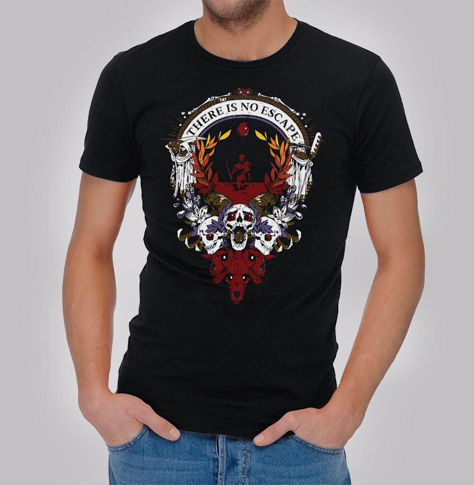 """<p><strong>Supergiant Games</strong></p><p>supergiantgames.com</p><p><strong>$24.99</strong></p><p><a href=""""https://store.supergiantgames.com/products/hades-t-shirt"""" rel=""""nofollow noopener"""" target=""""_blank"""" data-ylk=""""slk:Buy"""" class=""""link rapid-noclick-resp"""">Buy</a></p><p>We're absolutely nuts for <em>Hades</em>. Phenomenal game. Best of 2020. You (or the gamer on your list) think so too? Then there's no better merch than this hellish T-shirt. </p>"""