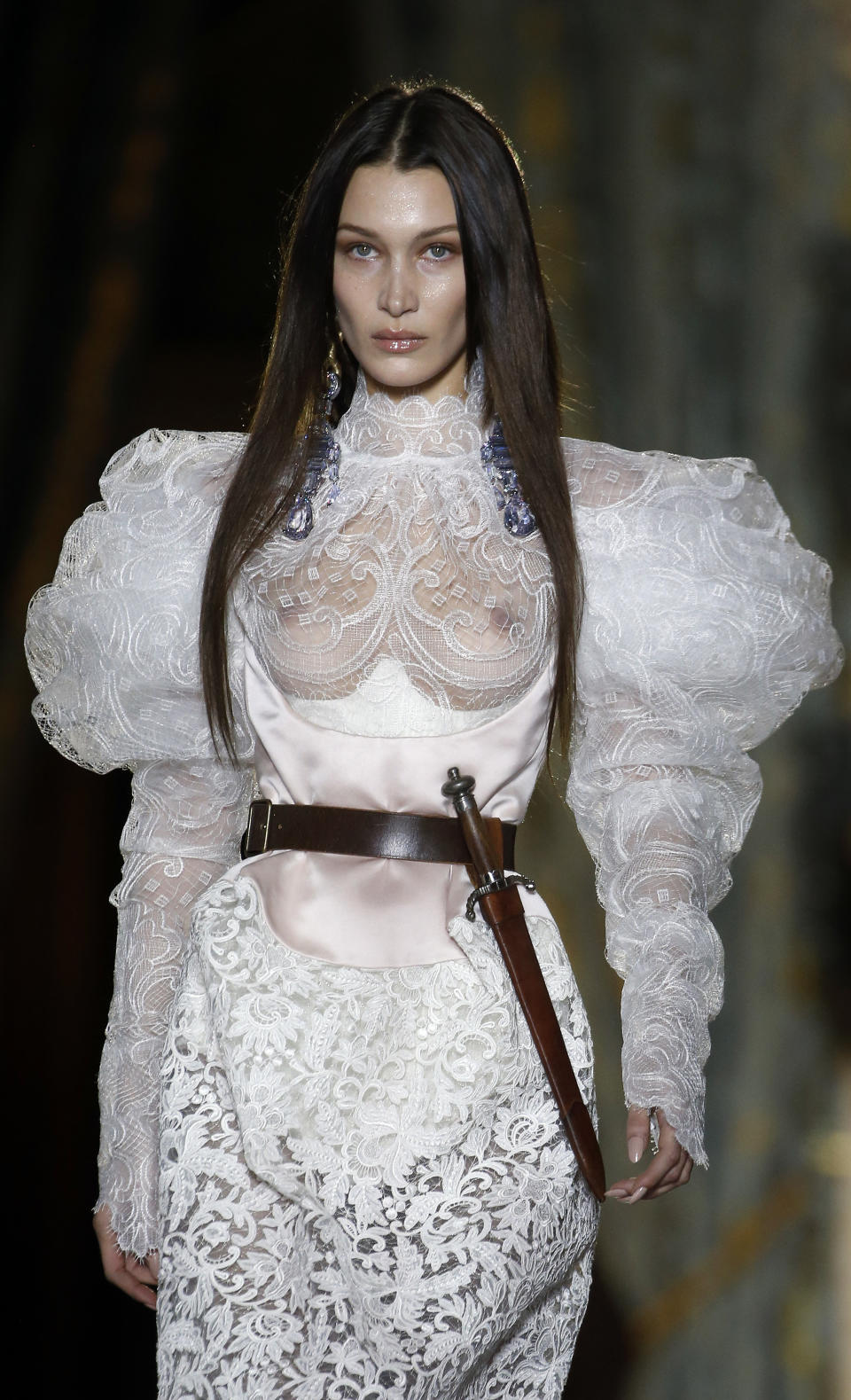 US model Bella Hadid model walks the runway during the Vivienne Westwood show as part of the Paris Fashion Week Womenswear Fall/Winter 2020/2021 on February 29, 2020 in Paris, France.