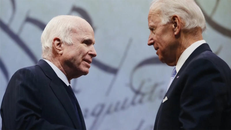 Senators John McCain and Joe Biden from a video during the virtual Democratic National Convention on August 18, 2020. (via Reuters TV)