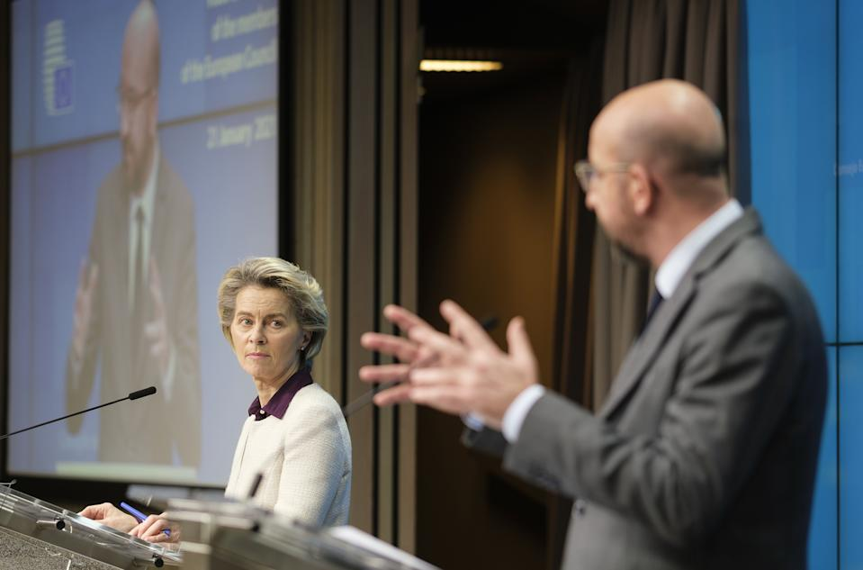 BRUSSELS, BELGIUM - JANUARY 21: European Council President Charles Michel (R) and European Commission head Ursula von der Leyen (L) hold a joint press conference in Brussels, Belgium on January 21, 2021. (Photo by Thierry Monasse/Pool/Anadolu Agency via Getty Images)