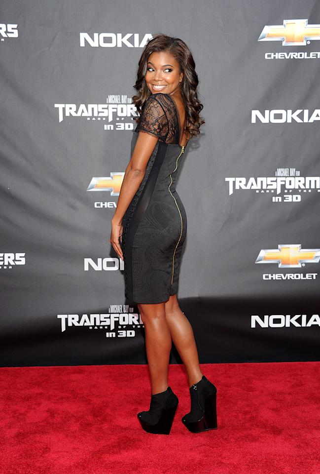"""<a href=""""http://movies.yahoo.com/movie/contributor/1800018551"""">Gabrielle Union</a> at the New York City premiere of <a href=""""http://movies.yahoo.com/movie/1810159115/info"""">Transformers: Dark of the Moon</a> on June 28, 2011."""
