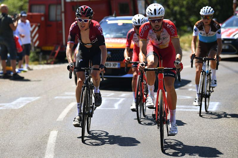 SAINTVULBAS FRANCE AUGUST 08 Geraint Thomas of The United Kingdom and Team INEOS Jess Herrada Lopez of Spain and Team Cofidis Solutions Crdits Jaakko Hnninen of Finland and Team Ag2R La Mondiale Breakaway during the 32nd Tour de LAin 2020 Stage 2 a 141km stage from Lagnieu to Llex MontsJura 896m tourdelain TOURDELAIN TDA on August 08 2020 in SaintVulbas France Photo by Justin SetterfieldGetty Images