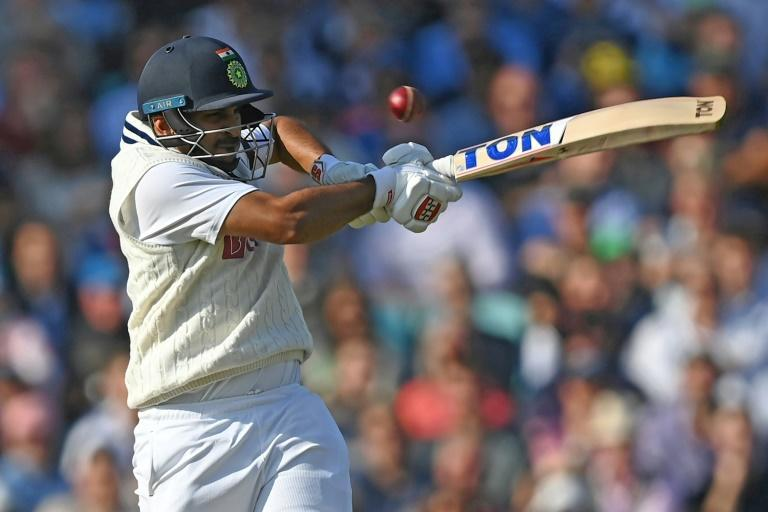 On the attack: India's Shardul Thakur hits out during his rapid fifty in the fourth Test against England at the Oval on Thursday (AFP/DANIEL LEAL-OLIVAS)
