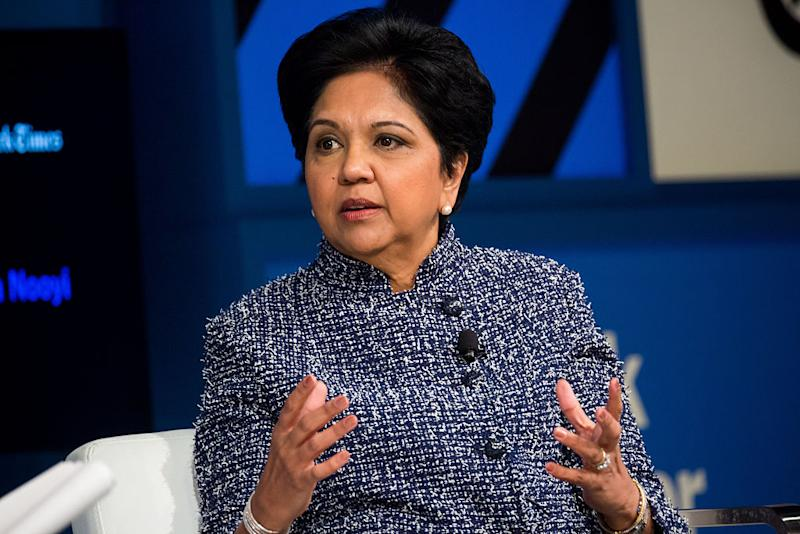 Indra Nooyi, chairman and chief executive officer of PepsiCo, speaks during the New York Times DealBook conference in 2016.