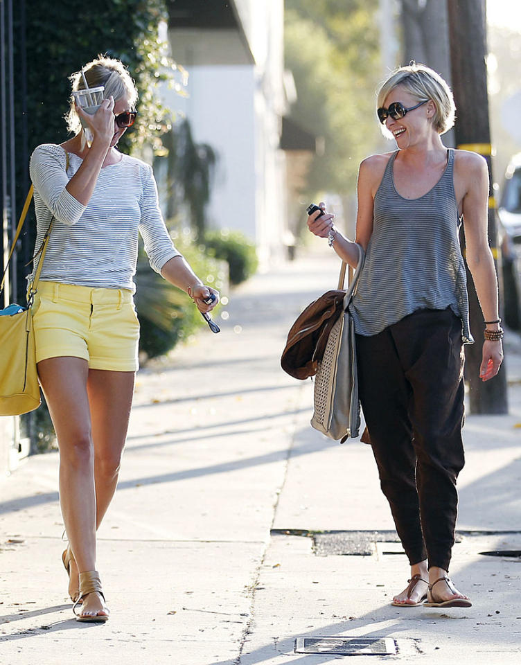Two blondes walk out of a hair salon. It sounds like the beginning of a joke, but it's actually exactly what happened when fellow actresses Cameron Diaz (left) and Portia de Rossi exited West Hollywood's Salon Benjamin together on Thursday. (8/9/2012)