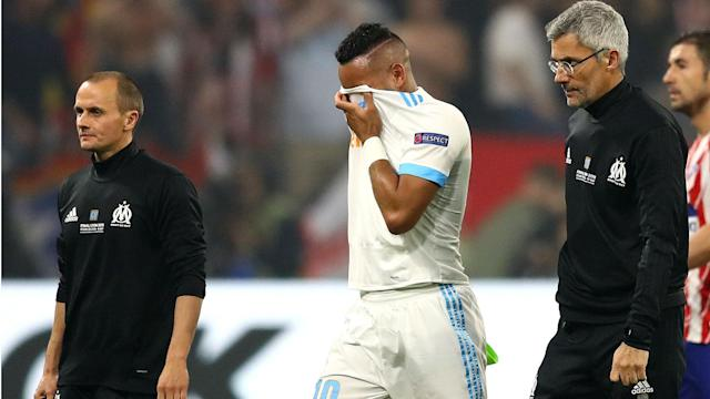 Injury left Dimitri Payet in tears after he was forced off during the Europa League final against Atletico Madrid.