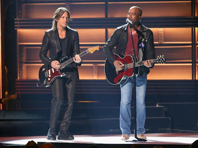 <p>Keith Urban and Darius Rucker perform onstage at the 51st annual CMA Awards at the Bridgestone Arena on November 8, 2017 in Nashville, Tennessee. (Photo by Terry Wyatt/FilmMagic) </p>