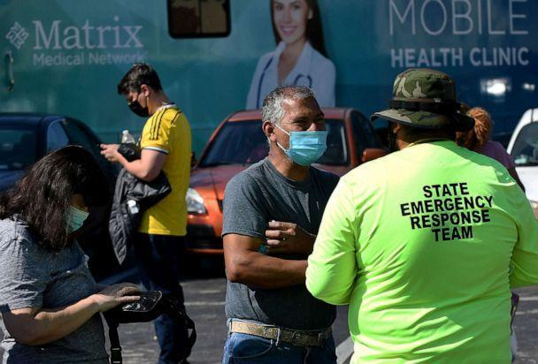 PHOTO: People register at a pop-up COVID-19 vaccination site in the parking lot of Bravo Supermarket in a predominantly Black and Hispanic neighborhood of Orlando, Fla., April 9, 2021.  (Paul Hennessy/Zuma Press, File )