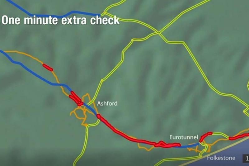 Traffic towards the Eurotunnel if checks last one minute longer (BBC Inside Out)