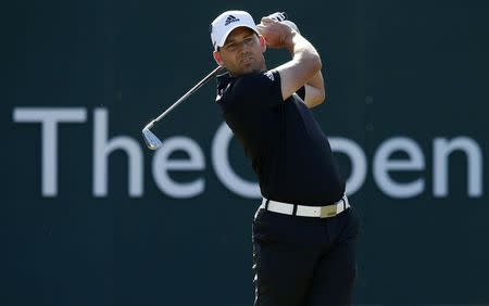 Sergio Garcia of Spain watches his tee shot during the first round of the British Open Championship at the Royal Liverpool Golf Club in Hoylake