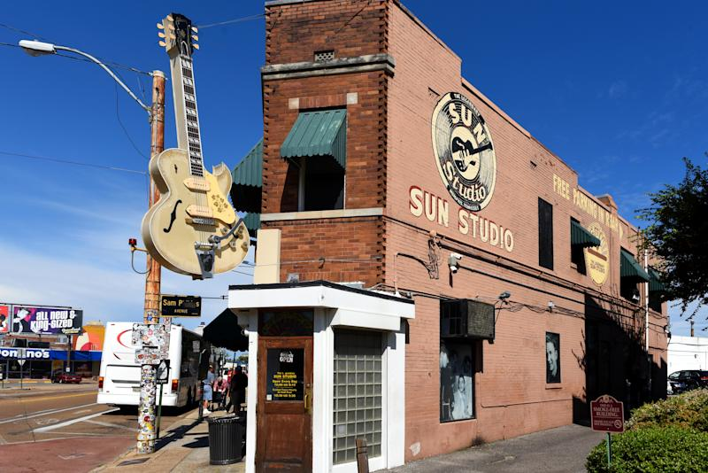 Memphis, TN, USA - September 24, 2019: The legendary Sun Studio on Union Avenue has been called the birthplace of Rock and Roll. Owner Sam Phillips recorded a long list of legends in the studio, not the least of which was Elvis Presley. The studio is open for tours daily.