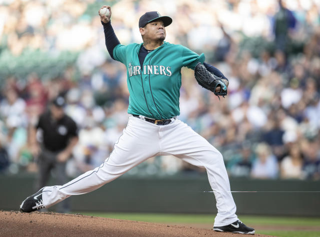 Seattle Mariners starter Felix Hernandez #34 of the Seattle Mariners delivers a pitch during a baseball game against the Colorado Rockies, Friday, July 6, 2018, in Seattle. The Mariners won 7-1. (AP Photo/Stephen Brashear)