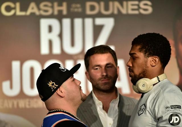You looking at me? Andy Ruiz and Anthony Joshua eye each other up on Wednesday (AFP Photo/FAYEZ NURELDINE)