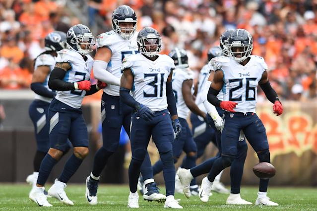 """The <a class=""""link rapid-noclick-resp"""" href=""""/nfl/teams/tennessee/"""" data-ylk=""""slk:Tennessee Titans"""">Tennessee Titans</a> defense has been showing out this season. (Photo by: 2019 Nick Cammett/Diamond Images via Getty Images)"""