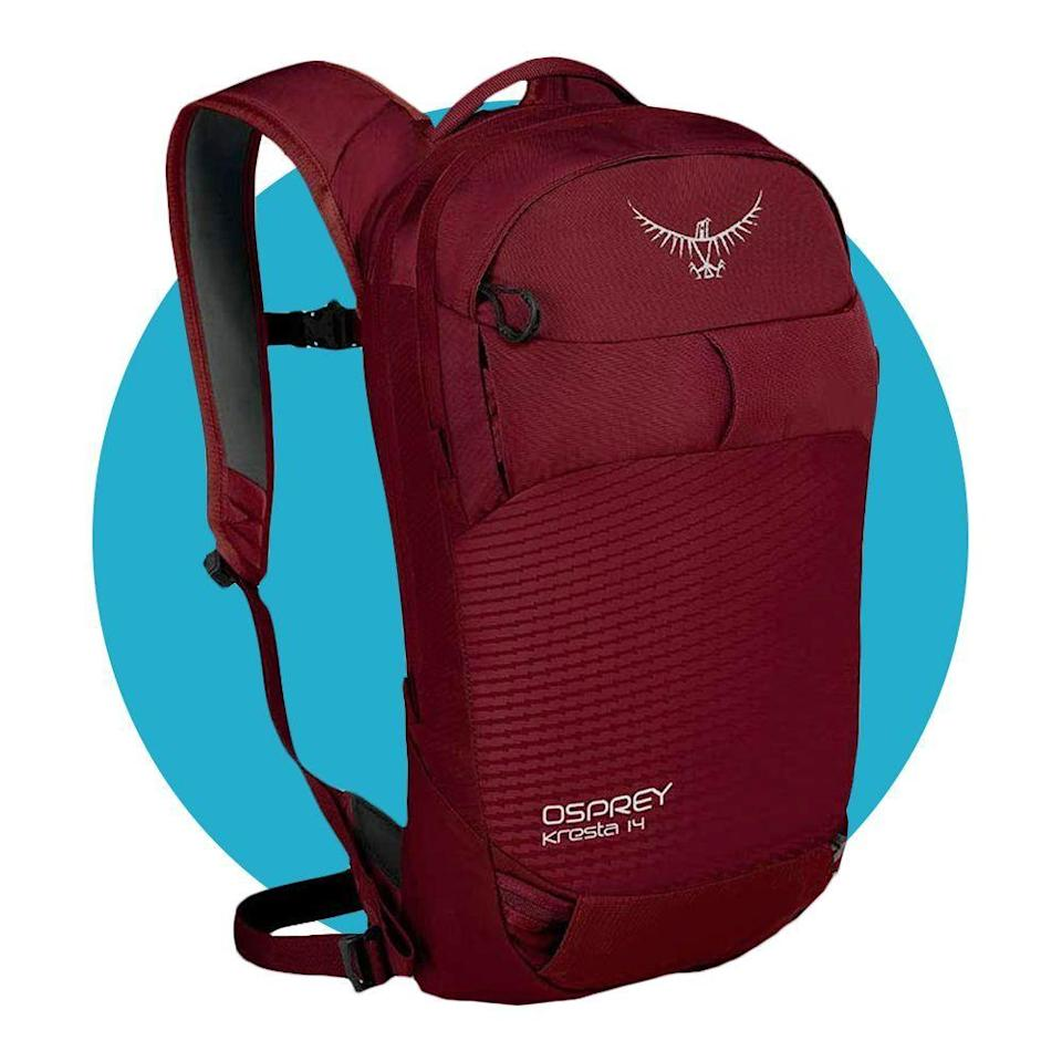 """<p><strong>Osprey</strong></p><p>amazon.com</p><p><strong>$74.95</strong></p><p><a href=""""https://www.amazon.com/dp/B07P82D18V?tag=syn-yahoo-20&ascsubtag=%5Bartid%7C2089.g.34449251%5Bsrc%7Cyahoo-us"""" rel=""""nofollow noopener"""" target=""""_blank"""" data-ylk=""""slk:Shop Now"""" class=""""link rapid-noclick-resp"""">Shop Now</a></p><p>The Kresta 14 is a must-have item for any skier. This backpack is comfortable enough to wear all day long while packed up with lunch, snacks, and a hydration bladder. Plus, it stays dry even in the snowiest weather. </p><p><a href=""""https://www.bestproducts.com/fitness/equipment/a31180184/osprey-kresta-14-ski-backpack-review/"""" rel=""""nofollow noopener"""" target=""""_blank"""" data-ylk=""""slk:Our SEO Director claims"""" class=""""link rapid-noclick-resp"""">Our SEO Director claims</a> is changed her whole skiing experience, for the better.</p>"""