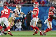 MIAMI, FLORIDA - FEBRUARY 02: Patrick Mahomes #15 of the Kansas City Chiefs fumbles the ball against the San Francisco 49ers during the third quarter in Super Bowl LIV at Hard Rock Stadium on February 02, 2020 in Miami, Florida. (Photo by Rob Carr/Getty Images)