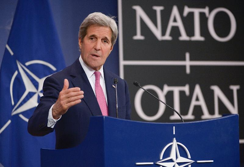 US Secretary of State John Kerry speaks at the NATO headquarters in Brussels on May 19, 2016 (AFP Photo/John Thys)