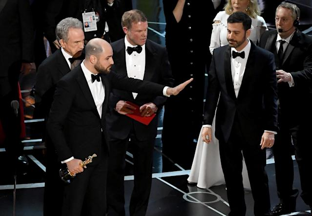 "<p>The Academy Awards were nothing short of boring this year as <em>La La Land</em> won Best Picture … until it didn't. Shortly after the Emma Stone/Ryan Gosling film was awarded the top prize, it turned out the real winner was <em>Moonlight</em>. The confusion happened onstage after Warren Beatty and Faye Dunaway were handed the wrong envelope by two <a href=""http://people.com/awards/oscars-2017-accountant-tweeted-minutes-before-best-picture-flub/"" rel=""nofollow noopener"" target=""_blank"" data-ylk=""slk:social media-loving"" class=""link rapid-noclick-resp"">social media-loving</a> accountants. Host Jimmy Kimmel had to correct the mistake while the <em>La La Land</em> crew was onstage, announcing the real winner to a stunned audience of A-listers. (Photo: Getty Images) </p>"
