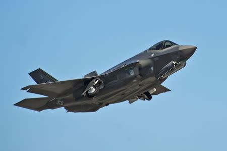 An F-35A Lightning II Joint Strike Fighter takes off on a training sortie at Eglin Air Force Base, Florida