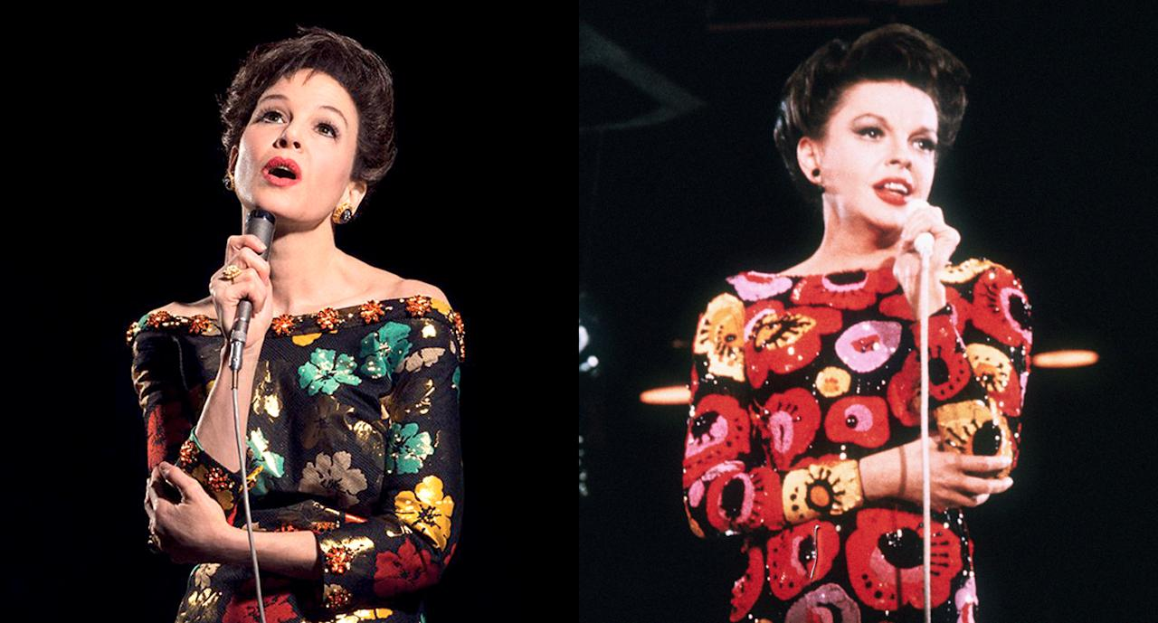 <p>Sporting a black off-the-shoulder flower dress and short haircut with a microphone in hand, Renée Zellweger definitely looks the part as Judy Garland in the upcoming biopic <em>Judy</em>. (Photo: Judy Garland Film via Twitter/Getty Images) </p>
