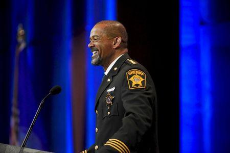 File photo of Milwaukee Sheriff David Clarke speaking during the National Rifle Association's annual meeting in Nashville