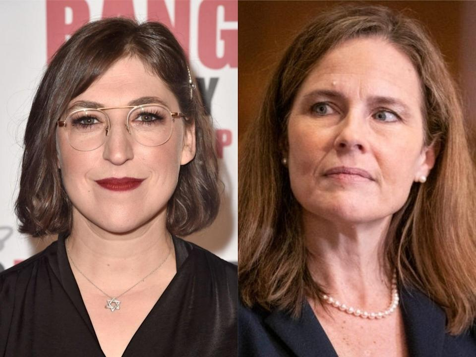 'Big Bang Theory' star Mayim Bialik and Supreme Court Justice Amy Coney Barrett (Alberto E Rodriguez/Sarah Silbiger-Pool/Getty Images)