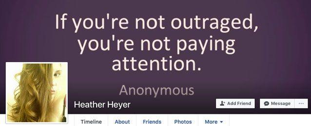 Ms Heyer used social media to campaign against social injustice. Source: Facebook