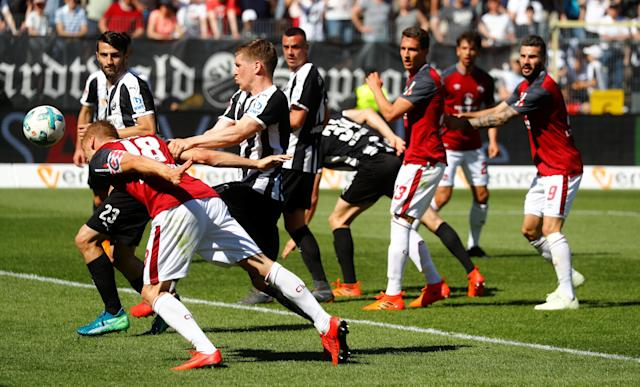 Soccer Football - 2. Bundesliga - SV Sandhausen v Nuremberg - BWT-Stadion am Hardtwald, Sandhausen, Germany - May 6, 2018 Nurnberg 's Hanno Behrens scores their first goal REUTERS/Kai Pfaffenbach DFL RULES TO LIMIT THE ONLINE USAGE DURING MATCH TIME TO 15 PICTURES PER GAME. IMAGE SEQUENCES TO SIMULATE VIDEO IS NOT ALLOWED AT ANY TIME. FOR FURTHER QUERIES PLEASE CONTACT DFL DIRECTLY AT + 49 69 650050