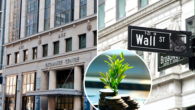 A picture of the ASX and a Wall St sign.