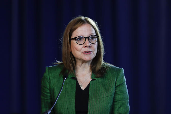 FILE - In this July 16, 2019, file photo General Motors Chairman and Chief Executive Officer Mary Barra speaks during the opening of their contract talks with the United Auto Workers in Detroit. The typical pay package for CEOs at the biggest U.S. companies topped $12.3 million in 2019, and the gap between the boss and their workforces widened further, according to AP's annual survey of executive compensation. (AP Photo/Paul Sancya, File)