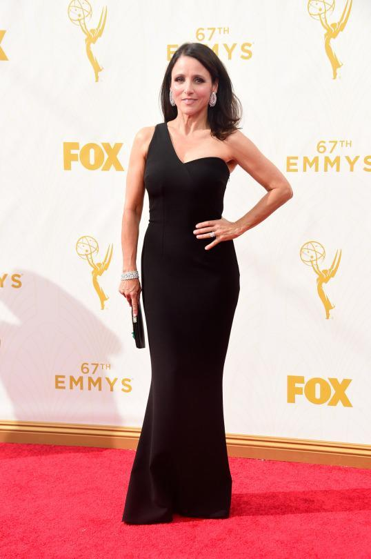 """<p>The brand SAFiYAA is new, but Julia Louis-Dreyfus is an old red carpet pro. The """"VEEP"""" actress knows her body and how to win a red carpet, even if it's just a black dress.<br></p>"""