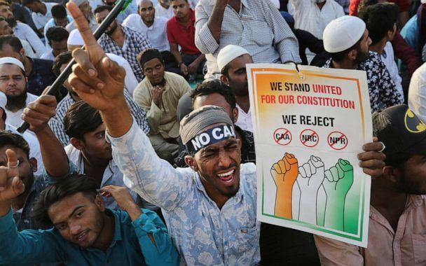 PHOTO: Indians shout slogans as they participate in a protest against a new citizenship law that opponents say threatens India's secular identity in Bangalore, India, Feb. 20, 2020. (Aijaz Rahi/AP)
