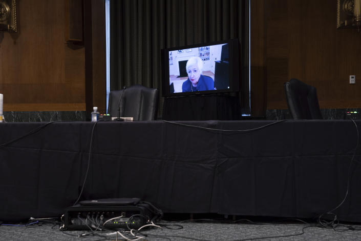 Treasury Secretary-nominee Janet Yellen appears virtually during a confirmation hearing before the Senate Finance Committee on Capitol Hill, Tuesday, Jan. 19, 2021, in Washington. (Anna Moneymaker/The New York Times via AP, Pool)