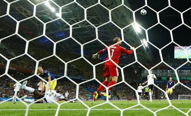 Soccer Football - World Cup - Group F - Germany vs Sweden - Fisht Stadium, Sochi, Russia - June 23, 2018 Sweden's Ola Toivonen scores their first goal past Germany's Manuel Neuer REUTERS/Michael Dalder