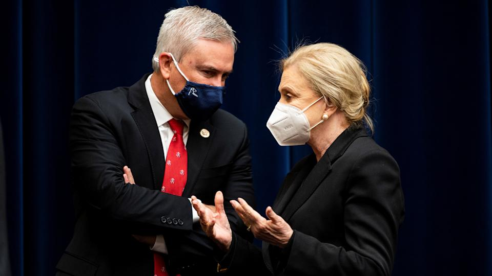 Carolyn Maloney, right, and James Comer