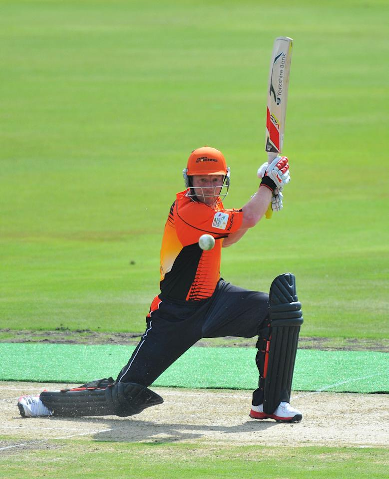 PRETORIA, SOUTH AFRICA - OCTOBER 23:  Paul Collingwood of Perth bats during the Karbonn Smart CLT20 match between Auckland Aces and Perth Scorchers at SuperSport Park on October 23, 2012 in Pretoria, South Africa.  (Photo by Photo by Duif du Toit/Gallo Images/Getty Images)