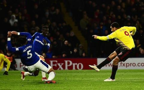 "Watford may have got over Marco Silva pretty quickly, but, on this evidence, Everton might still hanker over the manager they had been prepared to pay £10million for. It was around the time of Watford's defeat at Goodison Park in November that Everton first made their approach for Silva, which the Hornets ultimately blamed for his sacking. But this victory for Javi Gracia's Watford, courtesy of a late Troy Deeney strike, may yet tempt Everton to try again for Silva in the summer once Sam Allardyce has steered them to safety. Allardyce's safety first approach against a Watford team that had previously only won four times at home in the Premier League this term would have frustrated the club's travelling fans. They rarely threatened the home side's goal and it was telling that goalkeeper Jordan Pickford produced two of Everton's most dangerous moments, with a pass that Oumar Niasse wasted and a late header in the Watford penalty area that almost resulted in an equaliser. Michael Keane battles with Watford's Troy Deeney Credit: REUTERS/David Klein Everton have only won once on the road in the League this season and have now lost five successive away games. They managed one shot on target against Watford, which was a deflected Niasse effort in just the 12th minute that Orestis Karnezis saved. Michael Keane missed the target with a header at the start of the second half and Allardyce said: ""If you squander your opportunities, you pay the price in the Premier League. ""We've taken 17 points from our last eight home games, but if you look at the difference away from home you say 'wow'. The difference against Watford was we didn't have a finisher on the pitch."" Everton have not kept a clean sheet since Boxing Day and Allardyce added: ""Ultimately, clean sheets are the answer because if we had gone 1-0 up then I don't think we would have lost the game. Watford 1 - 0 Everton (Troy Deeney, 79 min) ""We need to keep clean sheets and then nick that one goal, like Watford did, and that will be the way forwards for us."" This was Watford's second successive victory at Vicarage Road, following the thrashing of Chelsea, and the Hornets have moved on from Silva. It is fair to assume the club's owner Gino Pozzo will have enjoyed getting one over Everton, who he felt unsettled Silva to the point that he had to sack him in January. Deeney's winner came with 11 minutes remaining after he unleashed an unstoppable shot on the turn, having received a pass from substitute Stefano Okaka. Watford vs Everton shots on goal ""It's three important points for us,"" said Gracia. ""Troy is very important for us on and off the pitch and I can only say good things about him. ""It was vital for us to improve our home form because we feel that backing from our supporters. They are another man for us and we have another chance at home against West Bromwich Albion next week. ""There is a good feeling in the club since the first day I arrived. But after two important victories at home everything is better for everybody. Everybody will be more happy."" Deeney turns smartly and buries the winner Credit: Alex Broadway/Getty Images On getting his substitutions right, Gracia added: ""I have got confidence in all the players. It's not easy to choose between them because they are all working very hard."" Everton's January signing Cenk Tosun was sent on as a second-half substitute, but his main contribution was to injure Watford forward Gerard Deulofeu who Gracia said was suffering with pain in his right foot. Allardyce said of Tosun, who cost £27m from Besiktas: ""He's getting used to it day to day in training. He's finding his feet and he made a reasonable contribution, and, hopefully, he will improve and will give us what we need."" 7:21PM Full time Pickford nearly bailed his side out there. Watford's changes were inspired and Okaka made a real difference when they went to 4-4-2. Everton, unambitious and plodding, were awful. 7:20PM 90+3 min A foul allows Everton one last chance and they bob on to win a corner. Pickford goes up, wins the header but Karnezis dives down to smother it. 7:19PM 90+2 min Three minutes have been added on, time that Watford seem intent on seeing out by the Everton corner flags. 7:16PM 90 min Watford corner that they try to keep in the corner. Hoddle gives his man of the match award to Deeney for the only touch of class of a truly terrible football match. 7:15PM 87 min Both sides lump it but for differing reasons. Watford finally get the ball down and Okaka turns with a gorgeous backheel flick, bursts past Keane and torpedoes a low shot that Pickford dives down to parry. Attempt Saved: Watford 1 - 0 Everton (Stefano Okaka, 87 min) 7:11PM 85 min Everton throw by the corner flag which they take and head back to halfway and Watford hustle the ball off them. 7:10PM 84 min Allardyce was about to bring on Schneiderlin to help shore up the point before Deeney scored but had to change tack. 7:08PM 82 min Double Everton substitution: Calvert-Lewin and Bolasie replace Sigurdsson and Rooney. 7:08PM 80 min Carelessness in possession from Everton lets Watford attack up the right, Okaka playes a one-two with Femenia then cuts it back to Deeney 15 yards out and he buries a powerful shot. Everton have shot themselves in the foot. Miss: Watford 0 - 0 Everton (Wayne Rooney, 68 min) 7:05PM Goal! Watford 1-0 Everton (Deeney) Troy Deeney turns sharply to smack in the opening goal Credit: Alex Broadway/Getty Images 7:05PM 79 min Double save from Pickford after his clearance hits Deeney. Femenia should square it to Deeney for the tap-in but goes for the shot and Pickford gets down. 7:04PM 77 min Gueye heads away Femenia's right wing cross and it falls to Doucoure who flays a wild shot over the bar. 7:03PM 75 min Watford crosses from Doucoure (fed by a cute Okaka backheel) and then Femenia hit the first defenders. 'Sam Allardyce would be happy to come away with a clean sheet'. Of course he would but what about the poor souls who trekked down to watch this or the Watford fans who have had to endure such dreadful crossing? 7:00PM 73 min Good tackle from Gueye dispossesses Okaka who then trips him. Everton take the free kick and give the ball straight back to the opposition who have two runners headed for the box. Typically for this match the attempt at a throughball goes straight to Keane. Utter garbage. 6:58PM 71 min Prodl makes some comical moves when beating Walcott to a long ball. He wins the header and is then clipped by Walcott but cannot decide whether to go down so waves his arms around as if he were about to collapse but in the end didn't and he waited for the whistle. 6:57PM 69 min Carillo and Femenia link up on the left and make a couple of opportunities to cross but find no precision with either. Third time lucky with a long throw? No Rooney clears Holebas' missile. 6:54PM 66 min Rooney takes a kung-fu lunge at a half volley from 18 yards. He had to as it bounced too high but he couldn't keep it down. Miss: Watford 0 - 0 Everton (Wayne Rooney, 68 min) 6:49PM 62 min Misplaced pass after misplaced pass. Carillo replaces Deulofeu who continues to upbraid the referee as he departs over the legality of Tosun's shoulder-barge. 6:46PM 60 min Tosun shoulder charges Deulofeu legitimately and speeds down the wing but his cutback is too heavy and fizzes into Sigurdsson's chest. 6:45PM 58 min Watford corner blocked at the near post by Tosun and then headed out by Williams. Watford go back 40 yards, hang a high ball towards the back post from the right and Pickford punches it out. 6:43PM 56 min Double Watford sub: Femenia and Okaka on, Richarlison and Pereyra off. Everton sub: Tosun on for Niasse. 6:41PM 55 min Rooney's cross is blocked and Watford break. Rooney runs back but misses his attempted tackle and Pickford bails him out with a save. 6:40PM 54 min Capoue fouls Walcott so Everton have another opportunity to stick it in the mixer and take it. targeting Keane but Watford clear. 6:39PM 52 min Keane goes up for a free-kick and stays up when the initial long ball is cleared. Kenny wellies in another 40-yarder and Keane, caught in two minds, heads across goal looking for Davies to poke it in instead of burying it himself. Allardyce is unimpressed. 6:36PM 51 min Everton corner that misses everyone in the box. School of science. 6:34PM 49 min Prodl meets the corner but gets underneath it and balloons it over. 6:33PM 48 min Kenny cuts out a pass intended for Deeney with a sliding interception and knocks Deulofeu's ball out for a corner. 6:32PM 46 min We resume with a half-hearted Watford surge up the left that leads to nothing. 6:16PM Half time Long ball filth and decent players trying to make something from odds and ends. The half ends with a lovely pass from Pickford, out of his area and sweeping up before Deeney can pounce, but Niasse, picked out 60 yards away, can't cushion it. The game is being squeezed. Average touch positions (half time) 6:13PM 44 min Richarlison swaps wings but Martina takes the ball off him with a well-timed tackle. He did well there. 6:12PM 43 min On of Javi Gracia's assistants gets into a barney with Duncan Ferguson. If only Michael Winner were still alive: Death Wish VI right there. 6:10PM 41 min Pickford plucks the corner out of the Hertfordshire sky. Dross. 6:10PM 40 min Martina blocks Deulofeu's cross after the winger takes him on but cannot shake him off. Watford corner. 6:08PM 38 min Niasse seems to be OK. 6:07PM 37 min Deulofeu smacks it flush into the wall. From the rebound Janmaat and Niasse go for it and the Everton striker inadvertently takes a blow on the head. The ref stops the game. 6:06PM 35 min Deulofeu again centres with purpose, very firmly crossing to the edge of the box Williams beats Deeney to it but Gueye takes him out with a sliding tackle too. Free kick, dead centre 20 yards out. Delofeu has found some space on the right Credit: Action Images via Reuters/Andrew Couldridge 6:03PM 33 min Deulofeu does that start-stop trick to draw Martina to him then hurtles past to the byline and clips a crisp cross into the box that Williams boots clear. 6:01PM 31 min Left wing cross from Sigurdsson towards the near post. Niasse has made the run but so, in his shadow, has Prodl who gets there first. 5:59PM 30 min Good tackle from Rooney on Deulofeu. He's turned into Joe Parkinson. Rooney turns midfield destroyer Credit: Action Images via Reuters/Andrew Couldridge 5:58PM 28 min Keane gets away with a sliding challenge with a raised foot that looks like a potential metatarsal-cracker on Doucoure who eventually gets up with a bruise but no break. 5:56PM 26 min A spate of fouls. Nothing nasty, just niggly time-wasters. 5:55PM 24 min Walcott gets round Holebas after a clever flick from Niasse and cuts the ball back for Rooney to shoot. He cocks his knee but Deulofeu has diligently come all the way back from the right wing to the left back spot that Holebas vacated and whips the ball away before Rooney can hit it. 5:53PM 22 min Kenny cleans out Richarlison with a rash tackle from behind. Free-kick. There's a palpable lack of urgency so far. Hoddle thinks fatigue will open the game up in the last 20 minutes. We'll have a phoney war until then. 5:51PM 20 min Everton corner after a touch of class from Sigurdsson, turning like St Johan and standing up a far-post cross that Richarlison, tracking back, heads away from Niasse. In comes the corner and Niasse tries a sidewinder volley at the back post but doesn't catch it right and hits the first defender. 5:48PM 18 min It's largely tripe, I'm afraid. 5:47PM 16 min Davies hits an early pass up to Sigurdsson who bursts forward plays a slick one-two with the supporting Davies but scuffs his daisycutter of a shot within easy range of Karnezis. Attempt Saved: Watford 0 - 0 Everton (Gylfi Sigurdsson, 15 min) 5:44PM 14 min That's nice from Pereyra who takes the ball down and strokes a pass out to Deulofeu. Davies does well to win it back. Possession: Watford vs Everton 5:42PM 12 min And they do counter quickly when they mop up a long pass and retaliate with one of their own up the left to Niasse who turns Janmaat with a stutter run then fires a left-foot shot towards the near post that Karnezis smartly saves and knocks behind. 5:41PM 10 min Everton are compact but certainly aren't pressing with any vigour or purpose They seem content to let Watford's defenders have the ball, hoof it and then counter. 5:39PM 8 min Watford are targeting Martina, clipping long diagonal passes designed to let Deulofeu get beyond him. There have been plenty of 'mixer' balls so far as if paying homage to the Wing Commander and all his disciples. 5:36PM 6 min Watford corner. A routine - Deulofeu runs towards it, does a step over and Doucoure by the D, hoofs it into orbit over Radlett. 5:35PM 4 min Prodl makes a mistake and tries to rectify being turned so easily by hauling Walcott back. Sigurdsson takes the free-kick, 25 yards out on the right. He floats it to the back post and Williams isn't quick enough to get there and instead slides in as it arcs out of play. That was a terrific cross. BT Sport are treating us to Glenn Hoddle again. Thanks for that. 5:33PM 3 min Mariappa hits a 60-yard diagonal for Deulofeu's run up the right. He controls it with a Barcelona-taught trap but runs out of room. 5:31PM 1 min Off they go, Everton moving the ball forward but can't penetrate Watford's defence who smother the ball and pass it around at the back until Karnezis punts it upfield. 5:13PM Teams in black and white Watford Karnezis, Janmaat, Prodl, Mariappa, Holebas, Pereyra, Doucoure, Capoue, Deulofeu, Deeney, Richarlison. Substitutes Gomes, Britos, Gray, Femenia, Zeegelaar, Carrillo, Okaka. Everton Pickford, Kenny, Keane, Williams, Martina, Davies, Gueye, Rooney, Walcott, Niasse, Sigurdsson. Substitutes Robles, Schneiderlin, Bolasie, Tosun, Calvert-Lewin, Holgate, Garbutt. Referee Anthony Taylor (Wythenshawe) 5:06PM Everton team Allardyce opts for 4-3-3. Still no start for Tosun. �� 