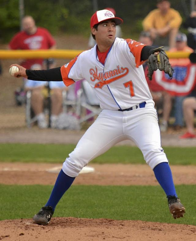 In this July 27, 2014, photo provided by the Hyannis Athletic Association, Hyannis ambidextrous pitcher Ryan Perez of Hampshire, Ill., pitches with his right hand during the Cape Cod Baseball League All Star Game at Doran Park, Bourne, Mass. The 20-year-old ambidextrous pitcher from tiny Judson University has blossomed into a potential high-round pick for the 2015 draft with his performances this summer in the prestigious Cape Cod League. (AP Photo/Hyannis Athletic Association, Bryan Lipiner)