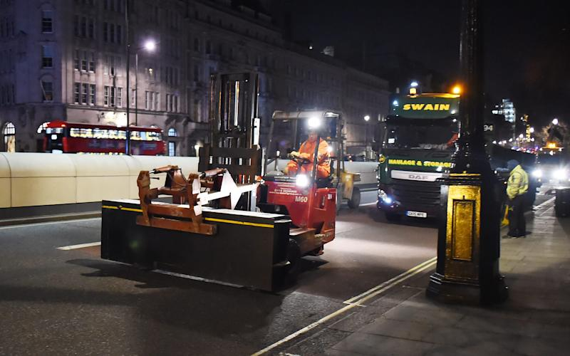 Steel walls being transported in central London as a security measure after the terror attack at Westminster Palace - Credit: Hewitt/Splash News